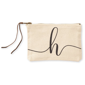 """h"" Initial Canvas Cosmetic Pouches"