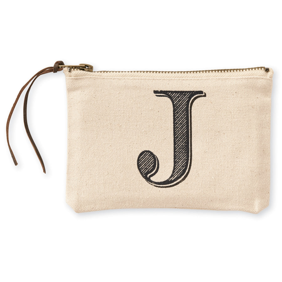 """J"" Initial Canvas Cosmetic Pouches"