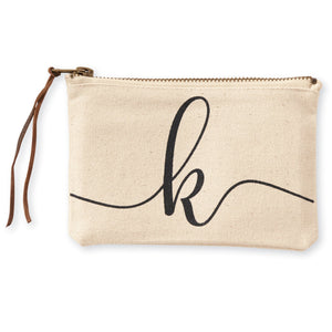 """k"" Initial Canvas Cosmetic Pouches"