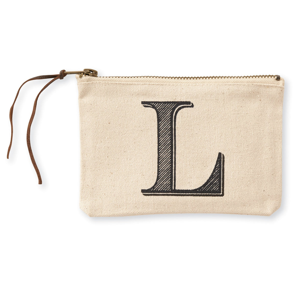 """L"" Initial Canvas Cosmetic Pouches"