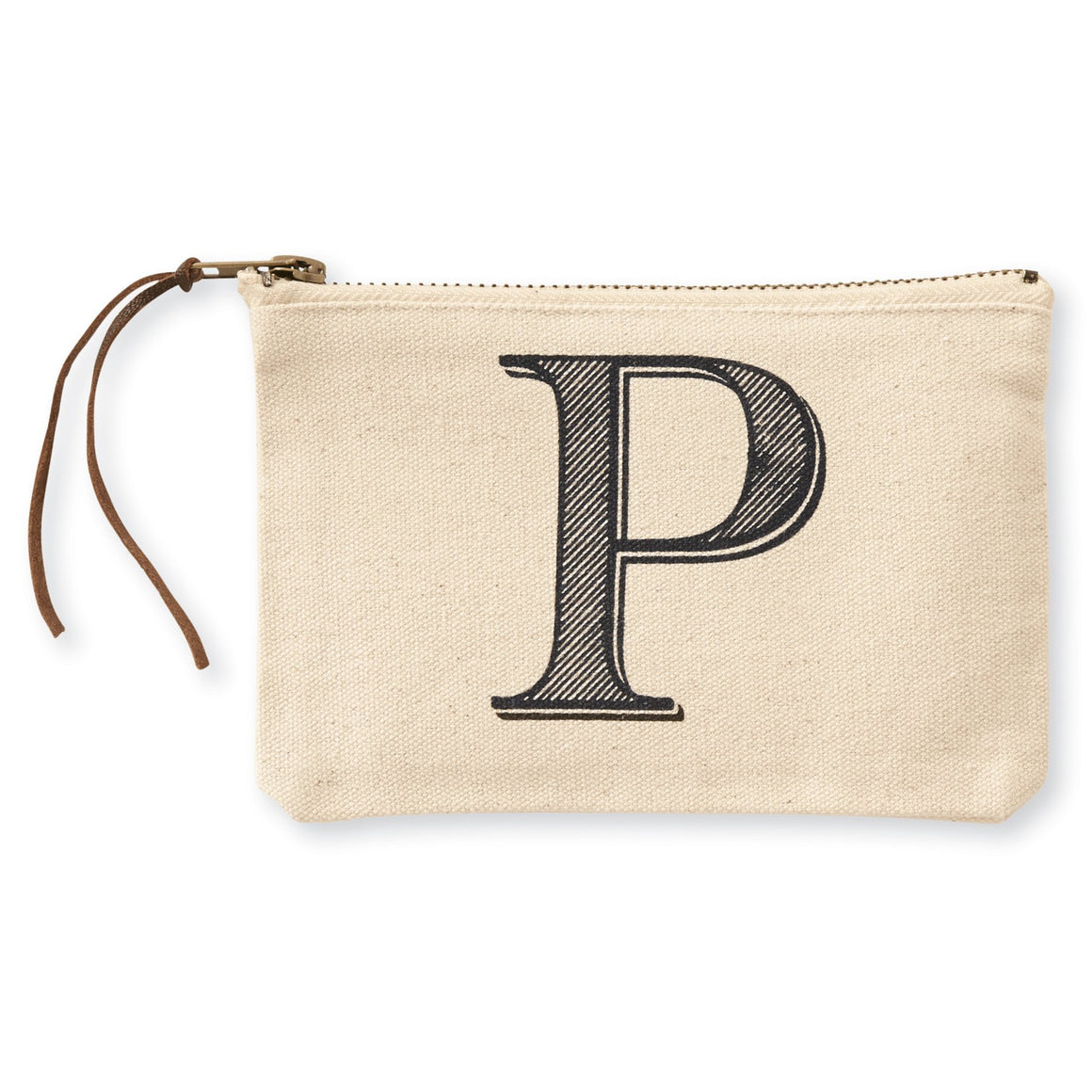 """P"" Initial Canvas Cosmetic Pouches"