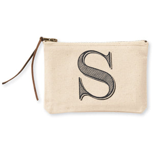 """S"" Initial Canvas Cosmetic Pouches"