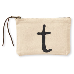 """t"" Initial Canvas Cosmetic Pouches"