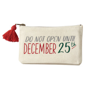 Do Not Open Canvas Christmas Pouch