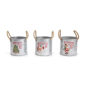 Tree Farm Small Vintage Tin Buckets