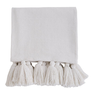 White Woven Tassel Throw Blanket
