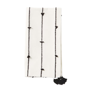 Black & White Tassel Dinner Napkins - Loops