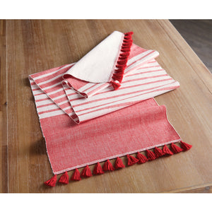 Red Tassel Table Runner
