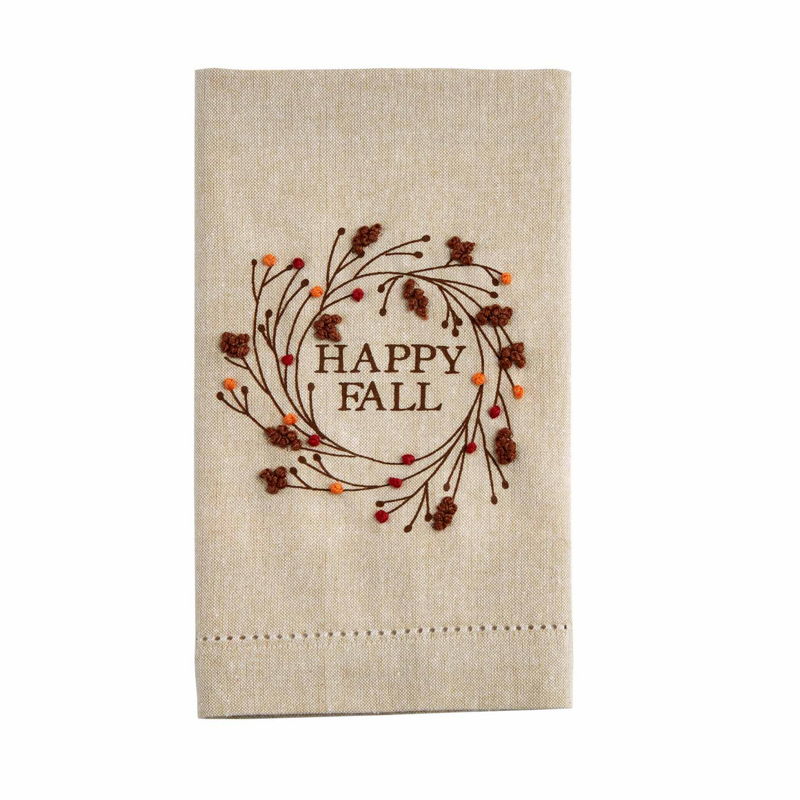 Happy Fall French Knot Tea Towel
