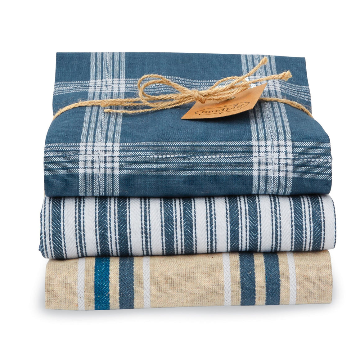 Blue Striped Dish Towel Set