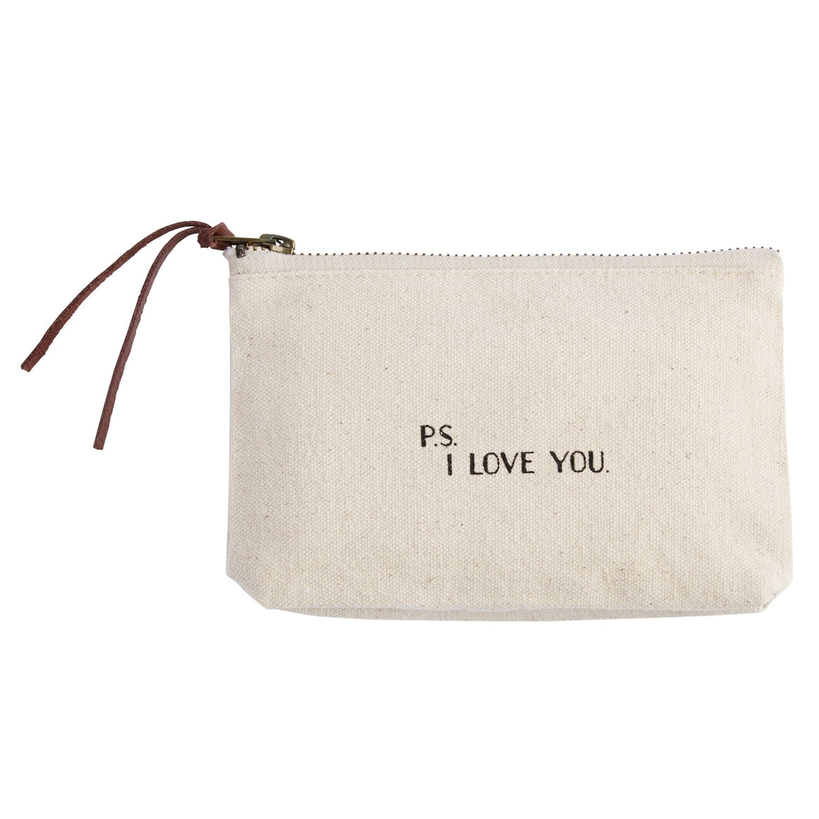 """P.S. I LOVE YOU."" Canvas Cosmetic Bag"