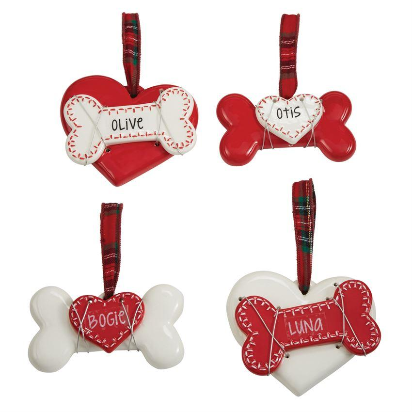 Personalized Dog Ornament - White Heart