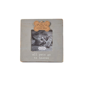 All Pets Go To Heaven Gray Dog Tag Gray Picture Frame