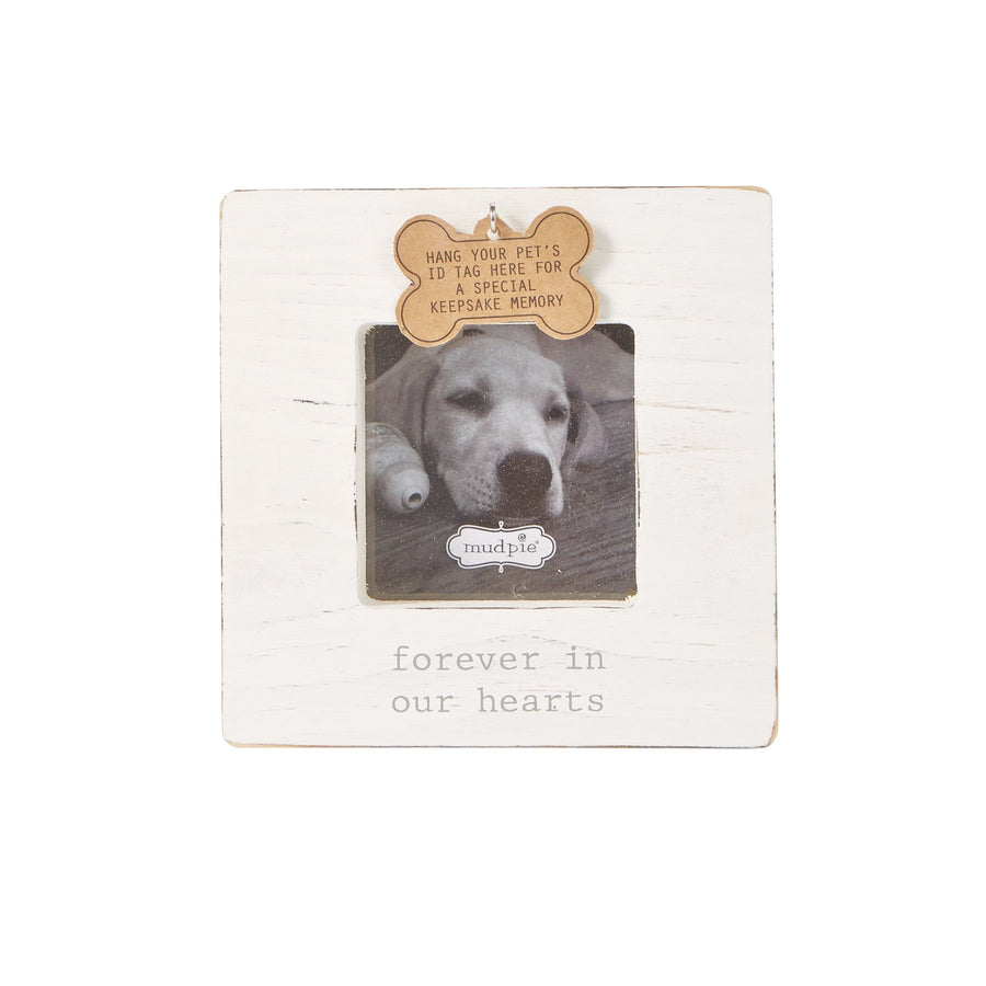In Our Hearts White Dog Tag White Picture Frame