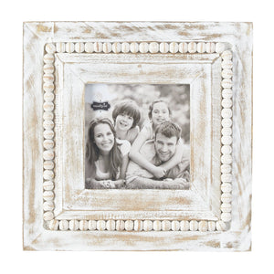 Square White-Washed Beaded Frame