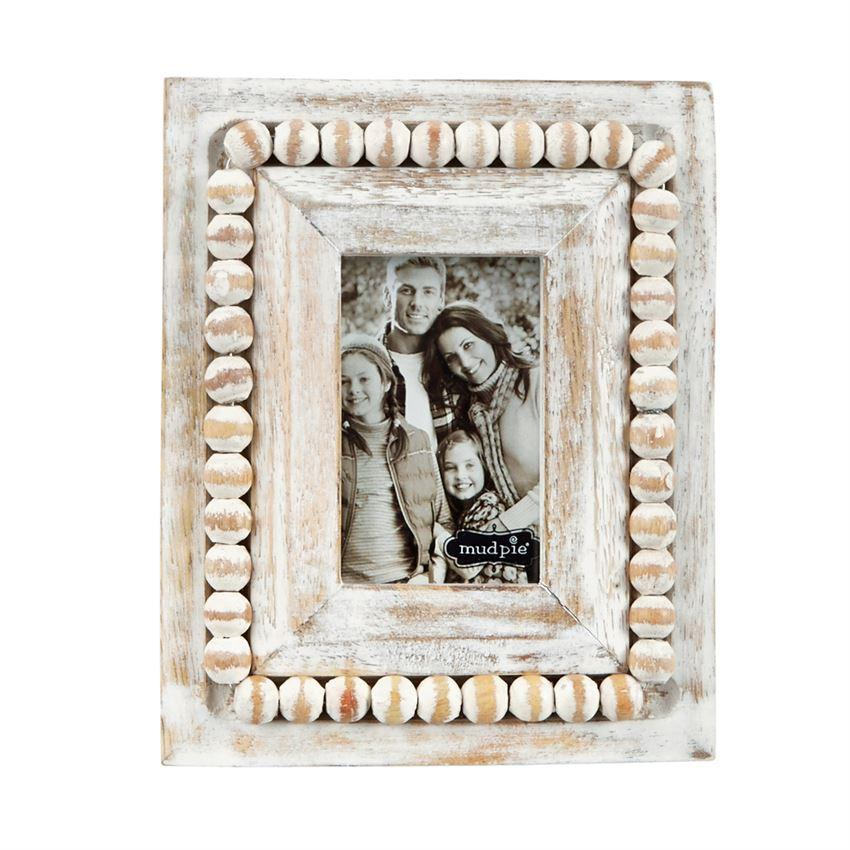 White-Washed Beaded Small Frames