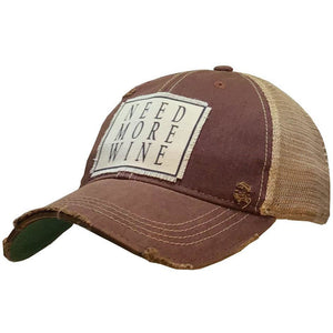 """Need More Wine"" Distressed Trucker Cap"