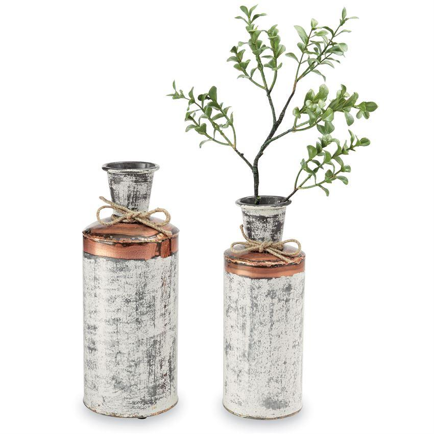 Distressed Tin & Copper Vases