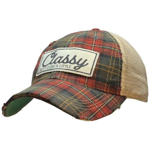 """Classy But I Cuss A Little"" Distressed Plaid Trucker Cap"