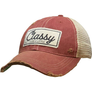 """Classy But I Cuss A Little"" Distressed Red Trucker Cap"