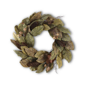 Magnolia Pinecone and Nut Wreath
