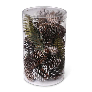 Cylinder of Assorted Snowy Pinecones and Green Pines