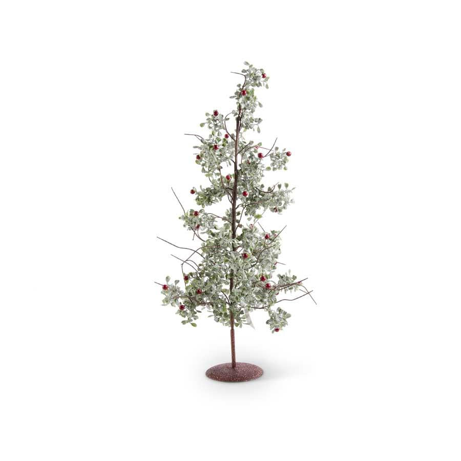 Glittered Mistletoe Tree With Red Berries