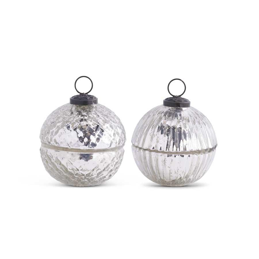 Assorted 3.5 Inch Filled Silver Mercury Glass Lidded Ornament Candles