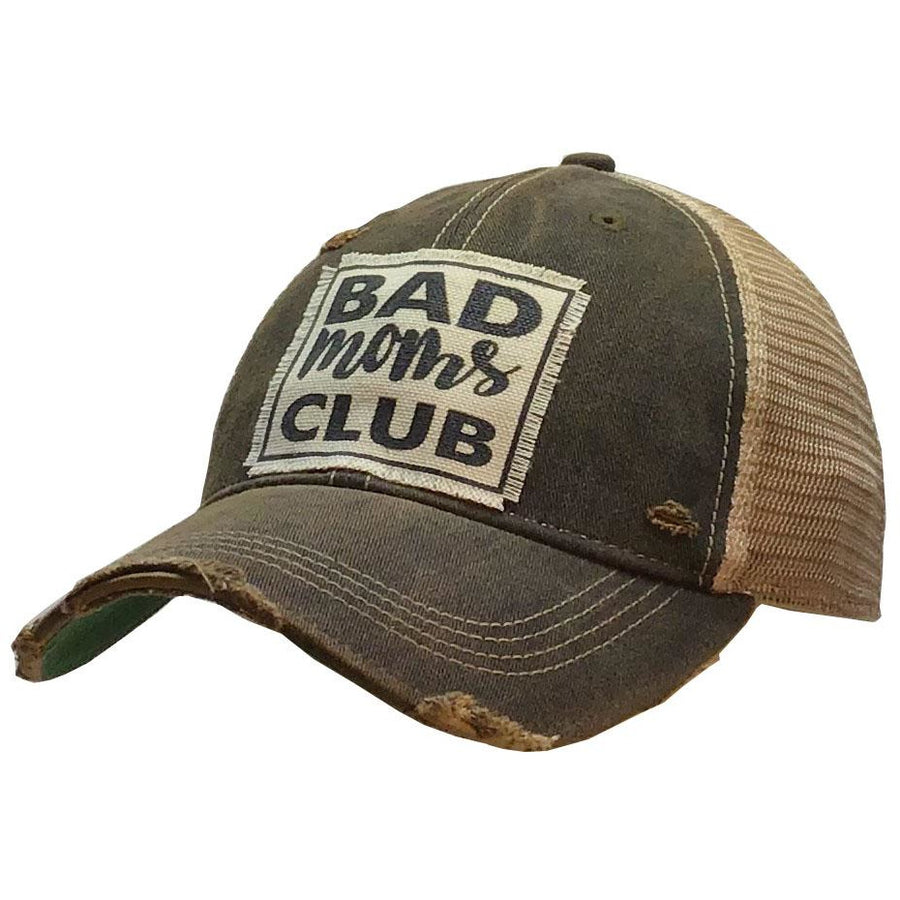 """Bad Moms Club"" Distressed Trucker Cap"