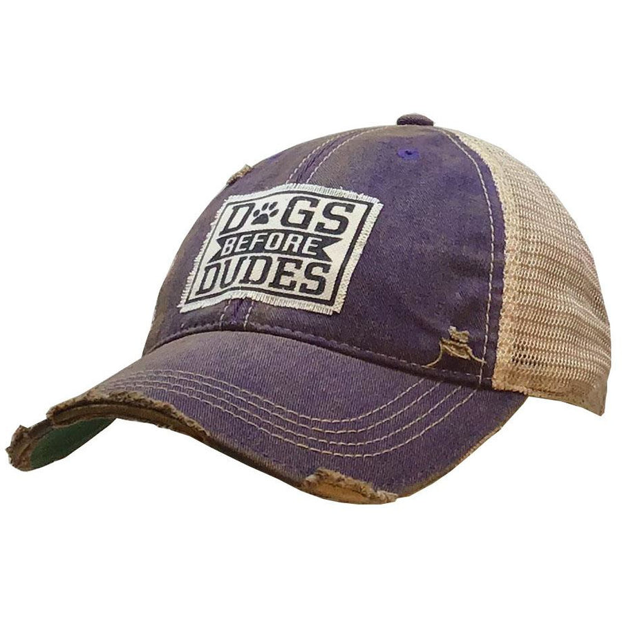 """Dogs before Dudes"" Distressed Trucker Cap"