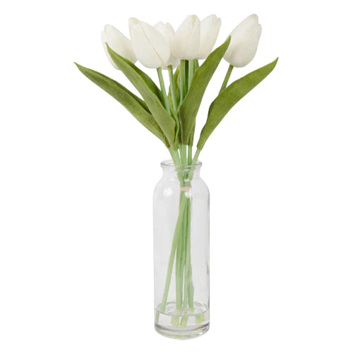 White Tulip Bundle with Vase