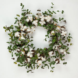 Faux Cotton Eucalyptus Wreath