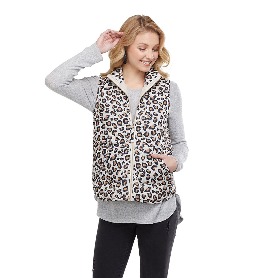 Brodie Quilted Leopard Vest L