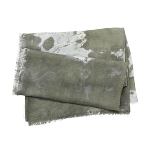 Tie Dye Square Scarf - Olive Green