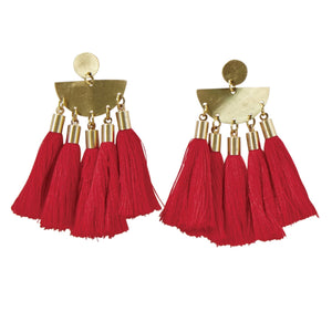 Red Tribal Tassel Earrings