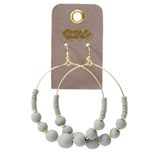 Gray Wooden Bead Hoop Earrings