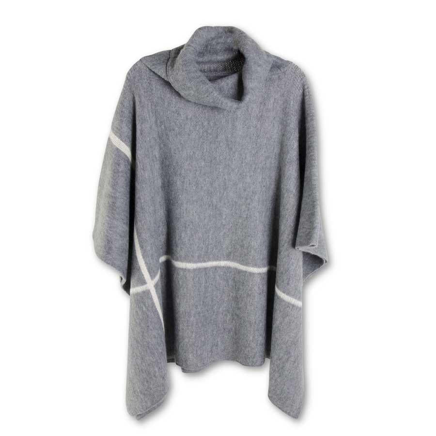 Gray Cowl Neck Poncho with Cream Stripes
