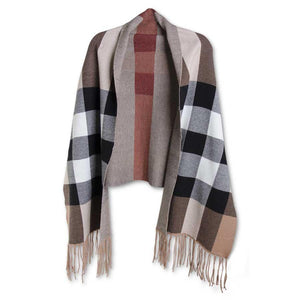 Wide Red Stripe Plaid Black and Brown Wrap with Sleeves