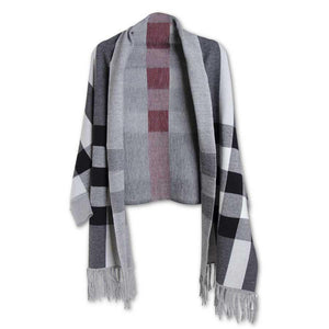 | Wide Red Stripe Plaid Gray and Black Wrap w/Sleeves