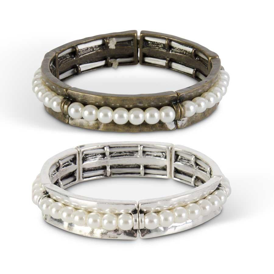 Assorted Pearl and Metal Stretch Bracelet