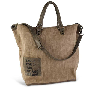 Table for 3 Burlap Tote