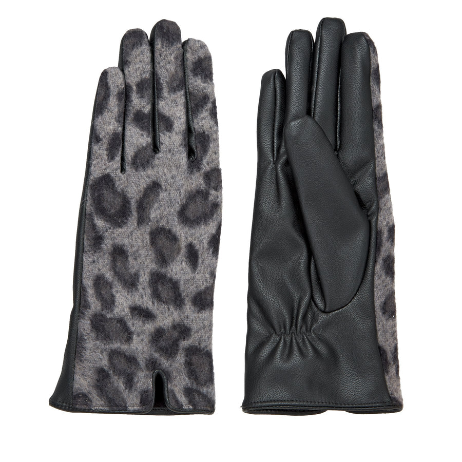 Leopard Gloves - Gray