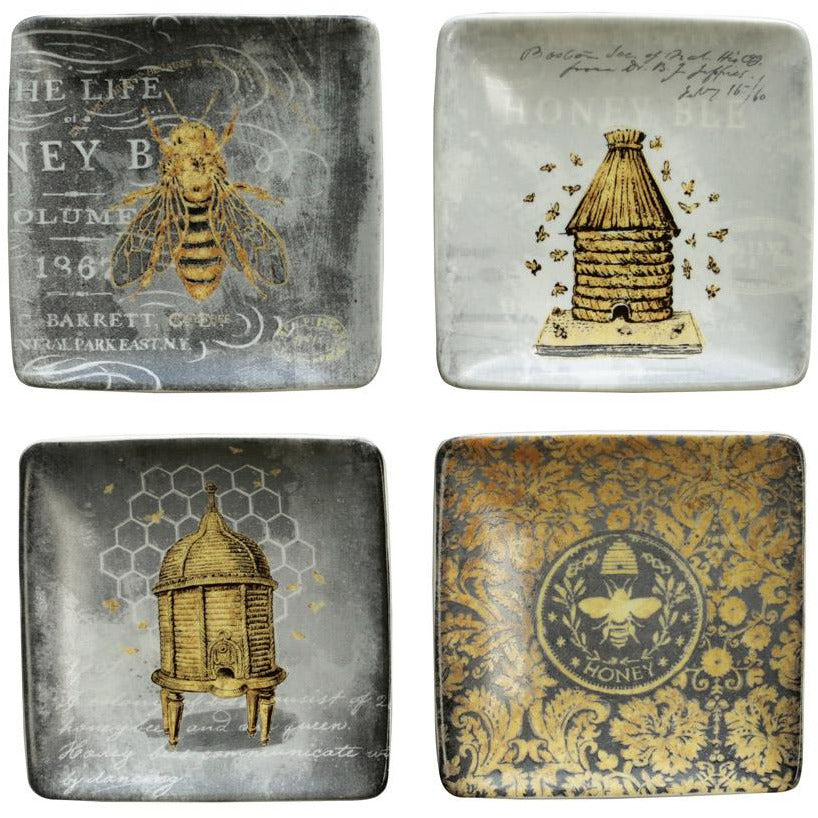 """Honey Bee"" Square Stoneware Dish"