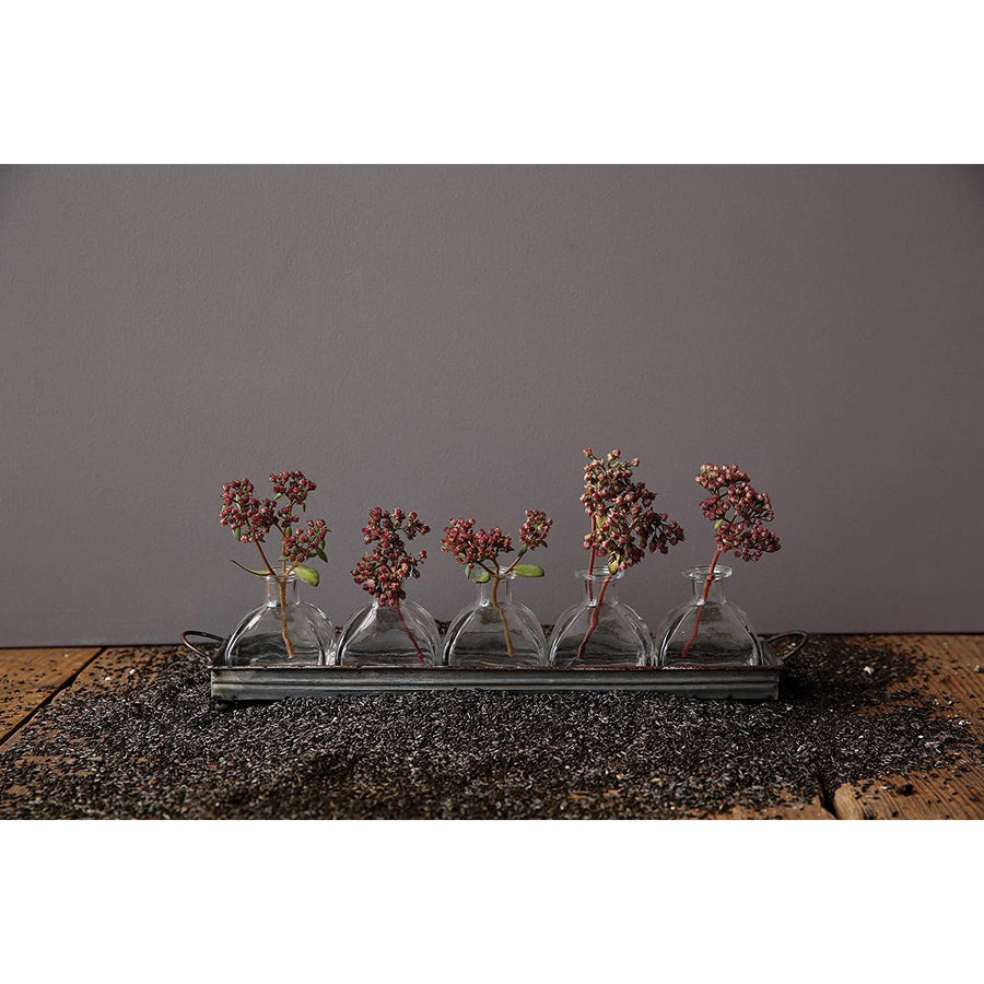 Decorative Metal Rectangle Tray with Handles & 5 Glass Vases