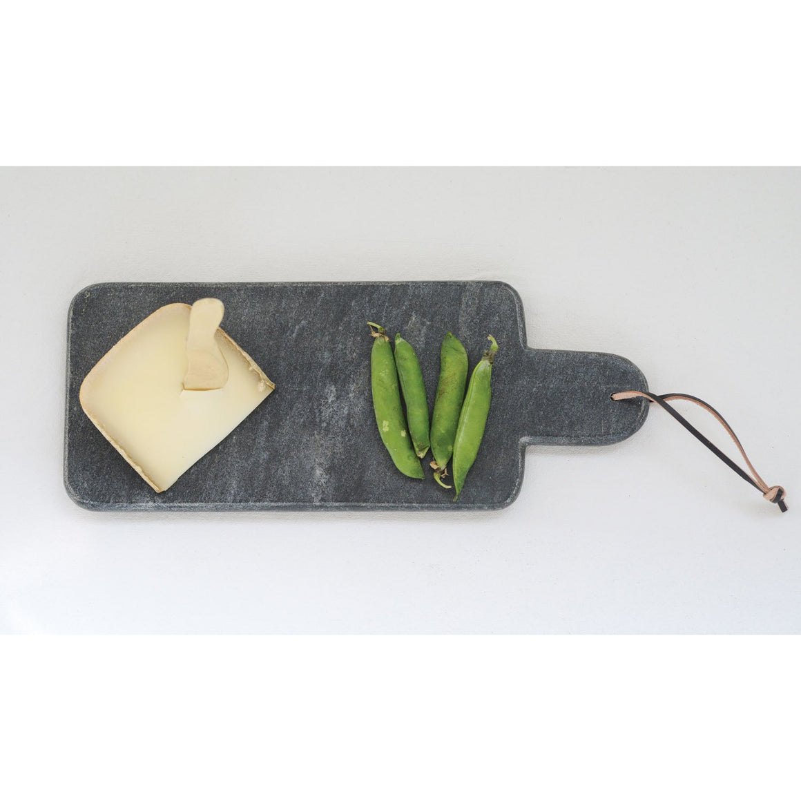 Black Marble Cutting Board with Handle & Leather Tie