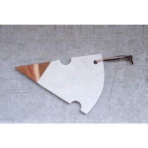 Marble & Acacia Wood Cheese Slice Cutting Board with Leather Tie