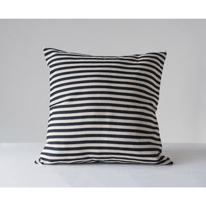 Black Striped Square Cotton Woven Pillow