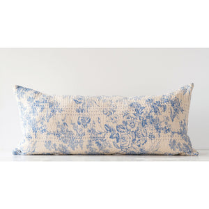Blue Cotton Chambray Toile Pattern Pillow