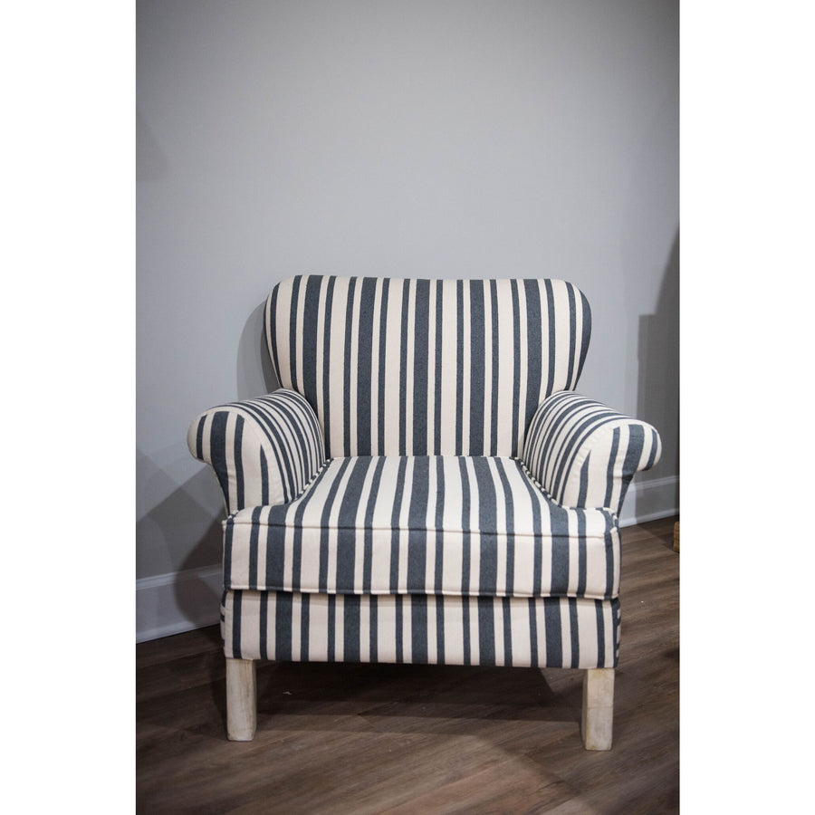 Black & Cream Striped Fabric Upholstered Chair