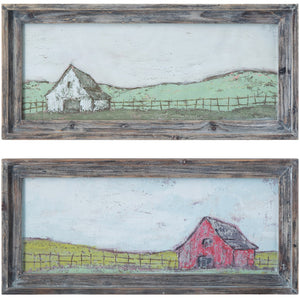 Framed Wood Wall Decor Barn Scene